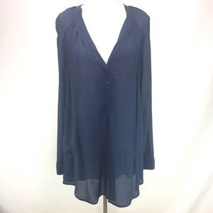 BCBG Max Azria Navy Blue Sheer Tunic Dress Medium